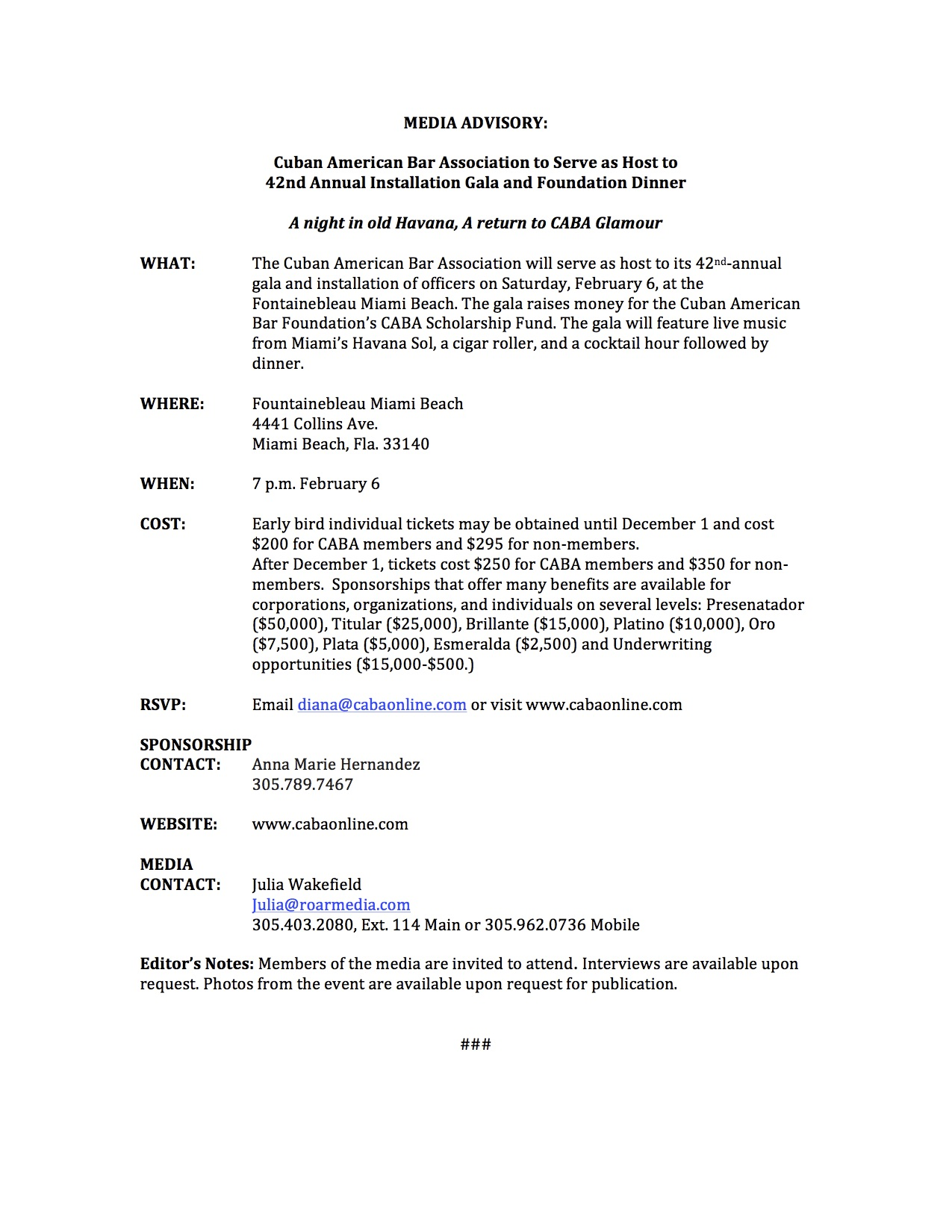 Caba gala media advisory cuban american bar association for Press release brief template