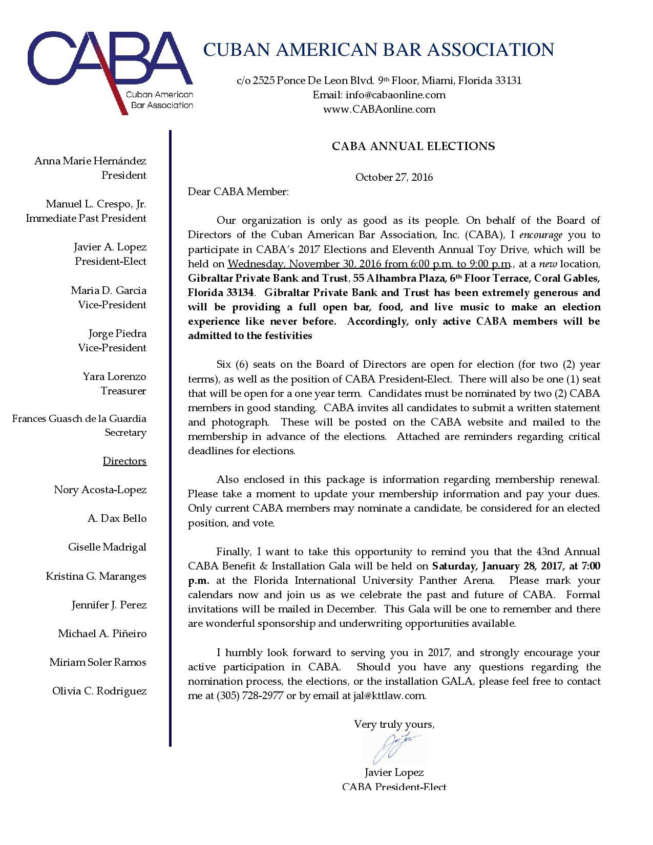 Caba Annual Elections Cuban American Bar Association